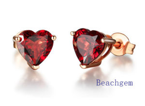 Jewellery-Natural Garnet Sterling Silver Earrings pictures & photos