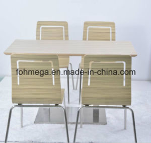 Food Court Plywood Dining Table with 4 Chairs (FOH-NCP7) pictures & photos