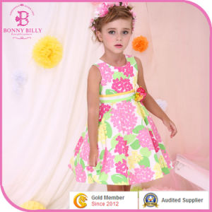 Colorful Flower Summer Dress in Kids Clothes, Baby Cotton Frocks