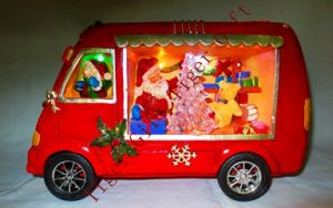 Polyresin Minii Bus W/Xmas Santa and Tree W/LED Light and Music