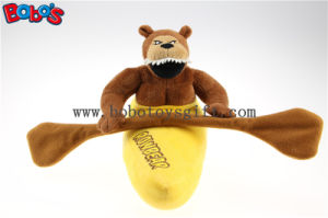 China Supplier Brown Customized Plush Stuffed Rowbear Mascot Toy with Orange Rowing pictures & photos