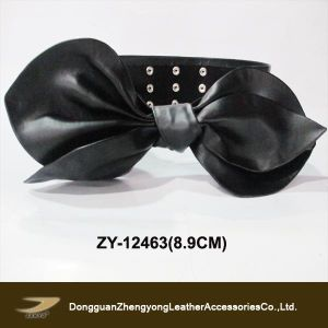 (ZY-12463) 2014 Black and Flame Big Knotbow Wide Fashion Belts