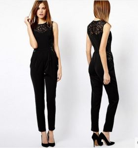 OEM Chiffon Sexy Women Jumpsuite Sexy Ladies Playsuit Black Lace Romper pictures & photos