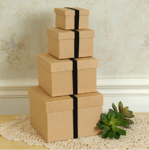 Square Kraft Paper Box Set with Elastic Band pictures & photos