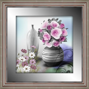 Bd-3541c 3D Flower Framed Painting with Mirror Border Silver Frame for Home Decoration