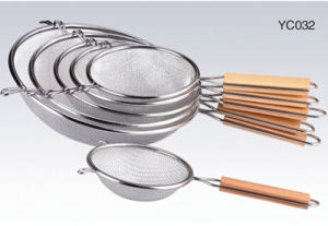 Stainless Steel Double-Deack Oil Net (wooden handle)