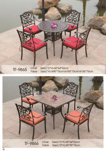 5-Piece Cast Aluminum Bronze Outdoor Dining Set with Mesh Chair