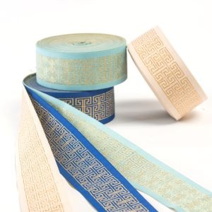 The Fret-Shaped Pattern of Wired Polyester Ribbon pictures & photos