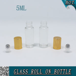 5ml Clear Cosmetic Roll on Glass Bottle with Gold Metal Lid pictures & photos