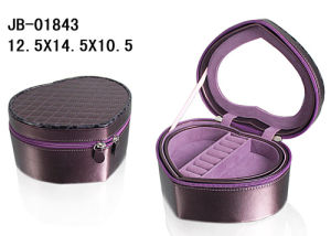 Heart Shape Fashion PU Leather Zipper Jewelry Box pictures & photos