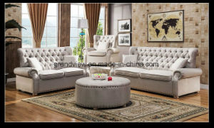 New Chesterfield Fabric Sofa Sofa Couch Antique Beige Color pictures & photos