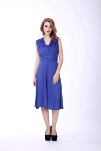 Women Tunic Dresses Royal Blue Long Evening Frill Dresses pictures & photos