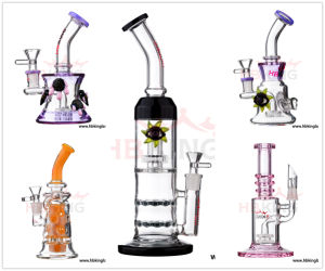 New Design Hbking China Glass Smoking Pipes, Cheap Glass Hookah Shisha Oil DAB Rig with Colorful Lips pictures & photos