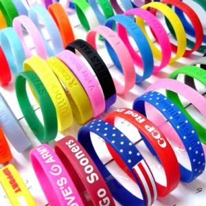 Colored Silicone Bracelet with Debossed Logos pictures & photos