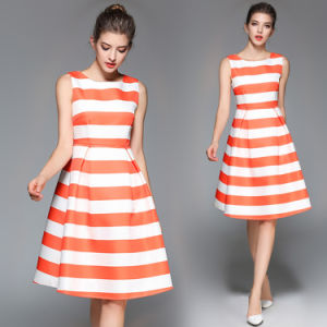 Wholesale Sleeveless Polyester Stripe Dress (A124) pictures & photos