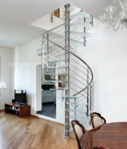 Glass Spiral Staircase with Stainless Steel Balustrade Antislip Glass Tread pictures & photos