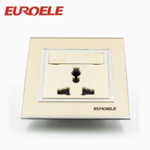 13A 250V 3 Pole Gold 86*86mm Wall Socket USB pictures & photos