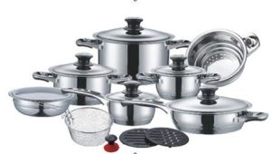 19PCS Stainless Steel Wide Edge Cookware Set -7steps Bottom; pictures & photos