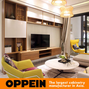 Oppein Contemporary MID-Sized White and Wood Grain TV Cabinet (TV0521603) pictures & photos