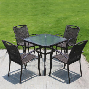 Patio Wicker Furniture Aluminum Plastic Wood Table Arm Chair (J824) pictures & photos
