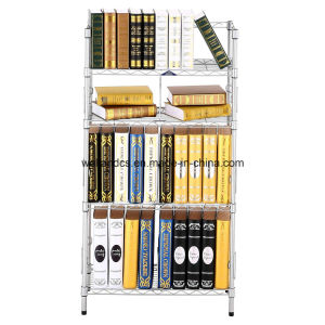 Hot Sale Us Household Adjustable 4 Tiers Chrome Metal Book Rack /Book Case pictures & photos