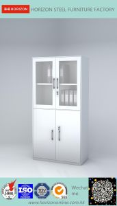 Steel High Storage Metal Furniture with Upper and Lower Framed Sliding Glass Doors/File Cabinet