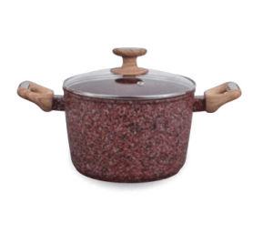 Granite Coated Aluminum Stock Pot with Antique Wood-Look Handles