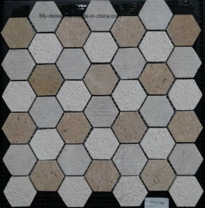 Building Material Mixed Color Hexagonal Natural Stone Marble Mosaic for Floor Tile (FYSC364) pictures & photos