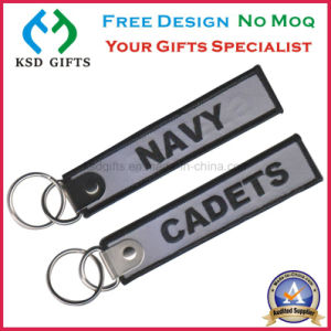 Custom Made Remove Before Flight Embroidery Key Chain with Split Ring pictures & photos