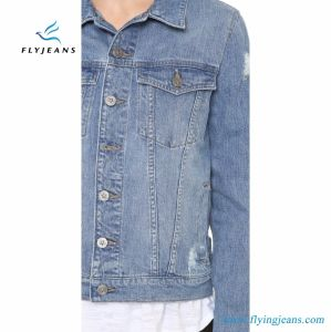 Ladies Boxy Denim Jacket with Shredded Holes and Fading pictures & photos