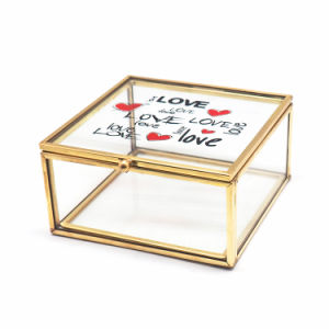 Custom Glass Golden Metal Glass Jewelry Box Jb-1063 pictures & photos