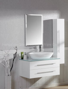 Ultrawhite Glass MDF Bathroom Vanity with Triangular Basin pictures & photos