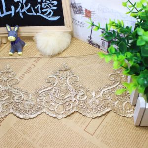 Factory Stock Wholesale 13cm Width Embroidery Nylon Net Lace Polyester Embroidery Trimming Fancy Mesh Lace for Garments Accessory & Home Textiles & Curtains pictures & photos