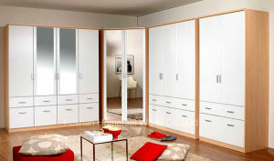 Fashion White High Gloss Corner Wardrobe Set with Mirror (HF-WB011) pictures & photos