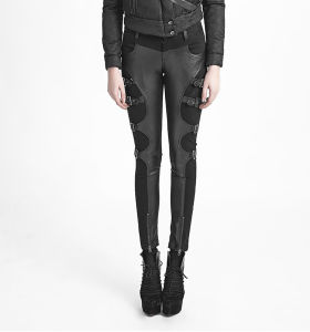 K-234 Black Winter Sexy Ladies Fitted Leather Trousers with Buckles pictures & photos