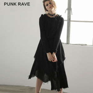 Pq-075 Cothic Latest Design Witch Irregular Three Layers Linen Long Woman Dress pictures & photos