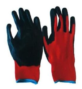 13G Red Polyester Liner Black PU Work Glove pictures & photos