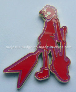 Customized Zinc Die Cast Red Hard Enamel Gold Plated Pin pictures & photos