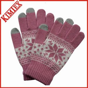 Acrylic Jacquard Touch Screen Glove for Promotion pictures & photos