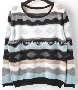 Women Fashion Sales V Neck Long Sleeve Sweater Clothing (X-241) pictures & photos