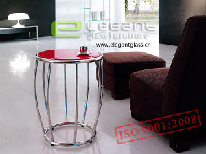 Modern Red Glass End Table in Home pictures & photos