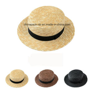 Chapeau Canotier Wheat-Straw Hats with Black Hats (CPA_80047) pictures & photos