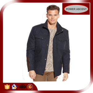 Men′s Wool-Blended Faux-Leather-Patch Car Casual Coat pictures & photos
