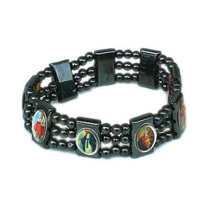 Wholesale Religious Hematite Bead with Saint Picture Rosary Bracelet pictures & photos