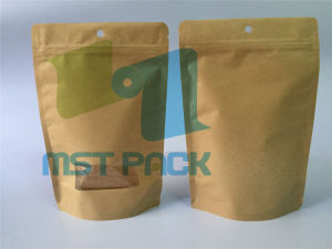 Kraft Paper Stand up Pouch with Front Clear Window pictures & photos
