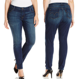 Women Plus Size Cotton Denim Blue Skinny Jeans