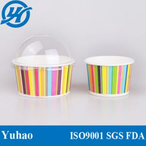Ice Cream Paper Cup with Clear Pet Dome Lid pictures & photos