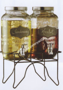 Glass Jar with Black Chalk and Iton Stand pictures & photos