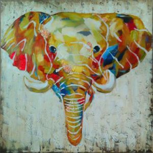 Watercolor Printed Elephants Painting for Interior Ornament (LH-028000) pictures & photos