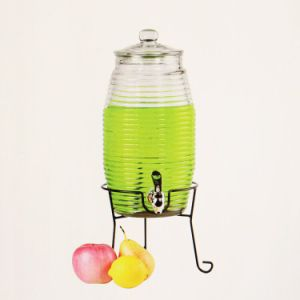 Popular Shape 4L/5L/8L Glass Drink Beverage Dispenser with Tap pictures & photos